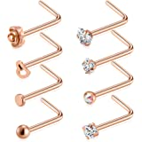 Amazon Price History for:Tornito 20G 8Pcs Stainless Steel L Shaped Nose Ring CZ Nose Stud Retainer Labret Nose Piercing Jewelry