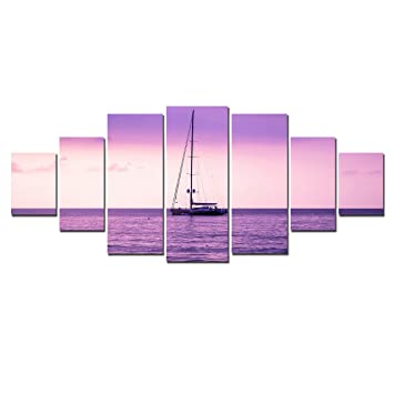 Startonight huge canvas wall art purple ocean view usa large home decor dual view