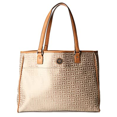 79db333487 Tommy Hilfiger Tote Bag for Women - Canvas, Brown: Amazon.ae ...