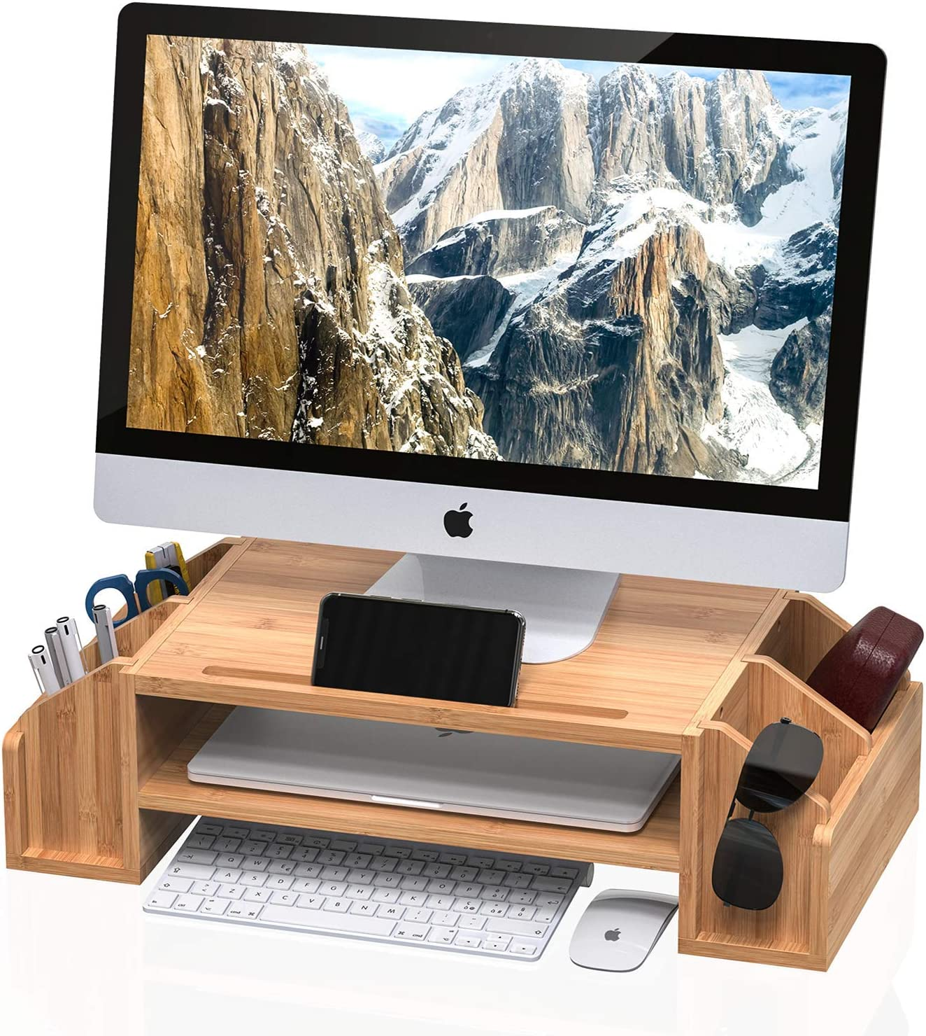 WELL WENG Bamboo 2-TIier Monitor Riser with Adjustable Storage Organizer Desktop Stand for iMac,Printer,Notebook,Xbox one,PS4 (MR3-SG))