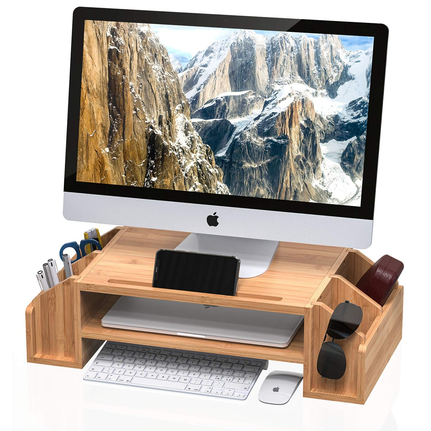 WELL WENG Bamboo 2-TIier Monitor Riser with Adjustable Storage Organizer Desktop Stand for iMac,Printer,Notebook,Xbox one,PS4 (MR3-SG)) by WELL WENG