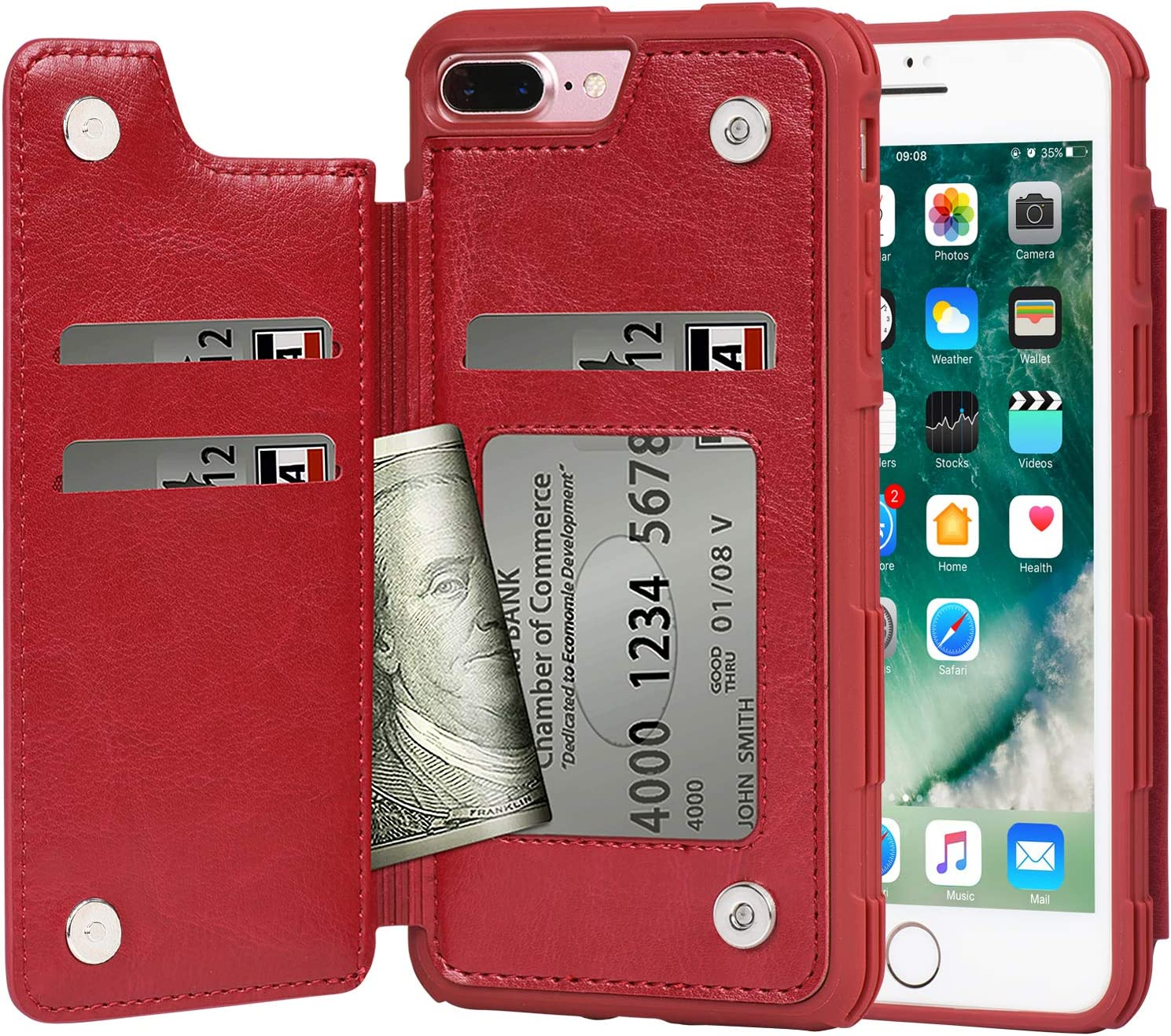 Arae Case for iPhone 7 Plus/iPhone 8 Plus - Wallet Case with PU Leather Card Pockets [Shockproof] Back Flip Cover for iPhone 7 Plus / 8 Plus 5.5 inch (red)