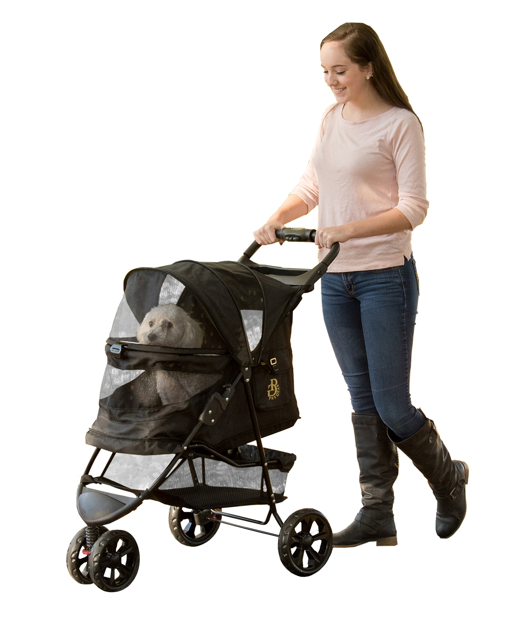 Pet Gear PG8250NZGM No-Zip Special Edition Stroller with Zipperless Entry, Gold Monogram