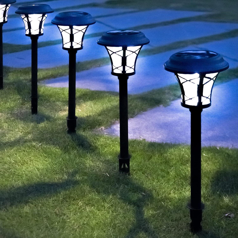 Generep 6 Pack Solar Pathway Lights Outdoor, Solar Powered Garden Lights, 25 Lumen Heavy Glass & Metal LED Landscape Lights, IP65 Waterproof Solar Path Lights for Lawn, Patio, and Walkway