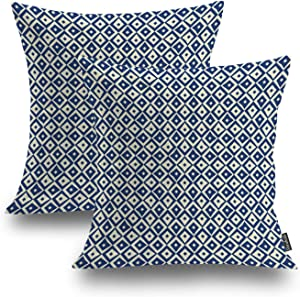Shrahala Navy White Animal Decorative Pillow Covers, Contemporary Peacock Eye Cushion Case for Sofa Bedroom Car Throw Pillow Covers Cushion Cover Square 20 x 20 inches Blue Peacock Eye, Set of 2