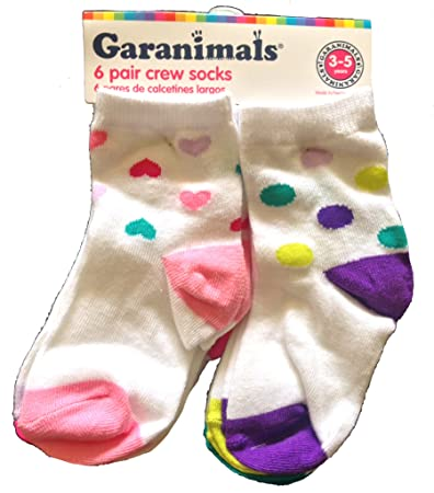 Garanimals Hearts and Polka Dots 6 Pair Crew Socks (3-5 YEARS)