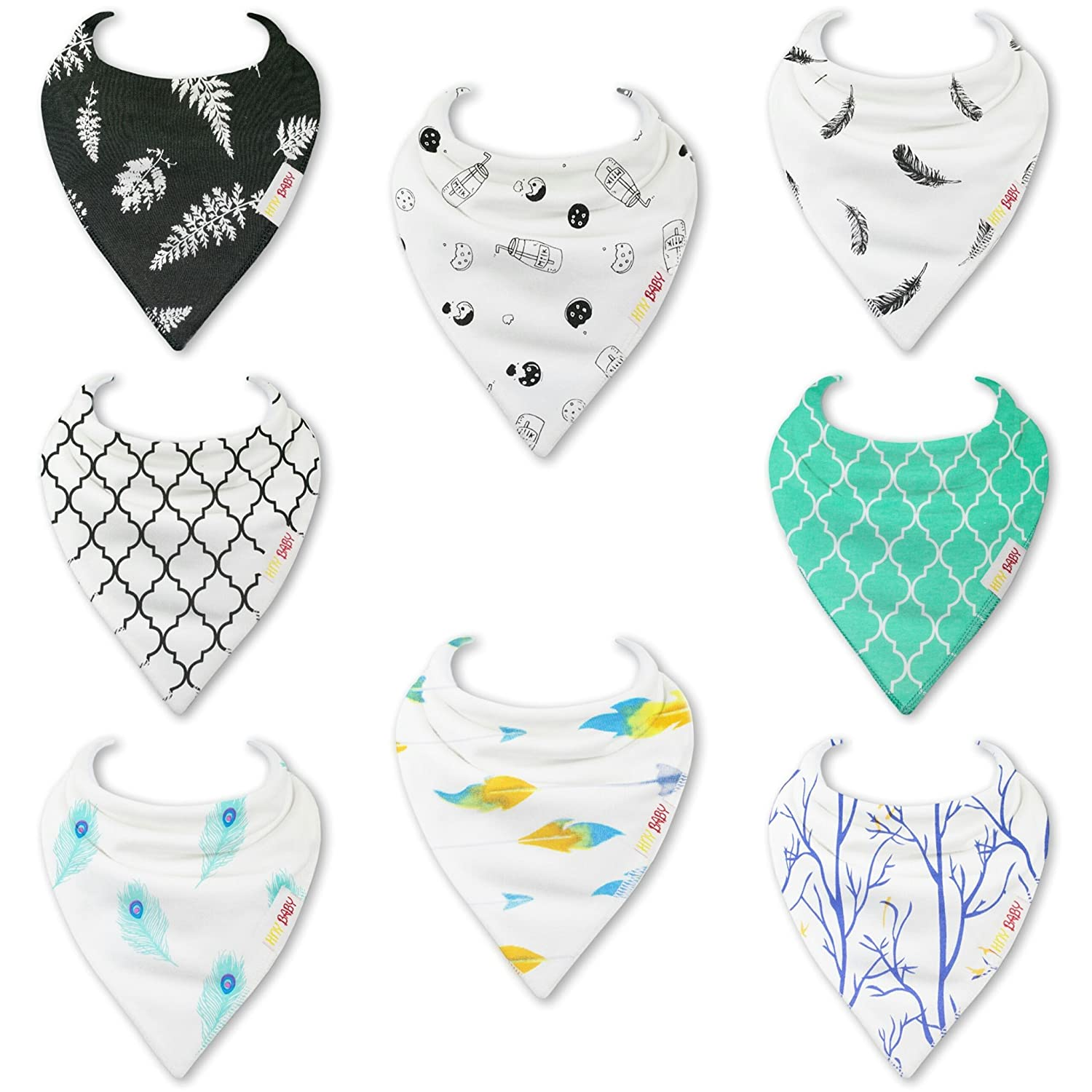 HnyBaby Baby Bandana Drool Bibs for Boys and Girls 8 PackOreo and Boho Organic Cotton with Adjustable Snaps, Drooling and Teething Bib Unisex Gift Set