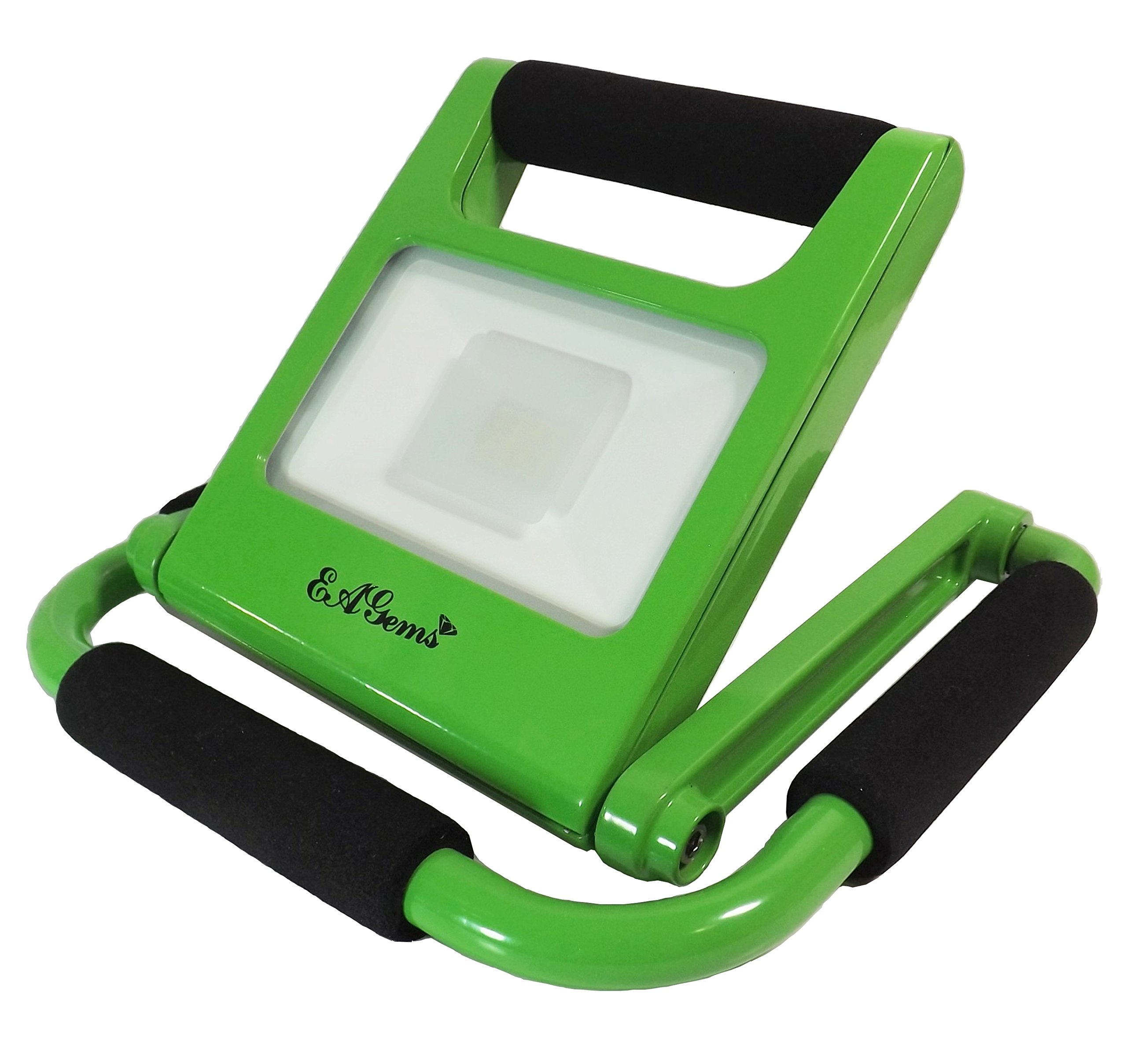 Portable LED Work Light by EAGems - Rechargeable Bright 10 Watt Lamp, Great for Home-Office-Car-Outside/In, Use as Emergency Spotlight or Flashlight - Folds to 1'' Thick - Adjustable 360 Degrees, Green