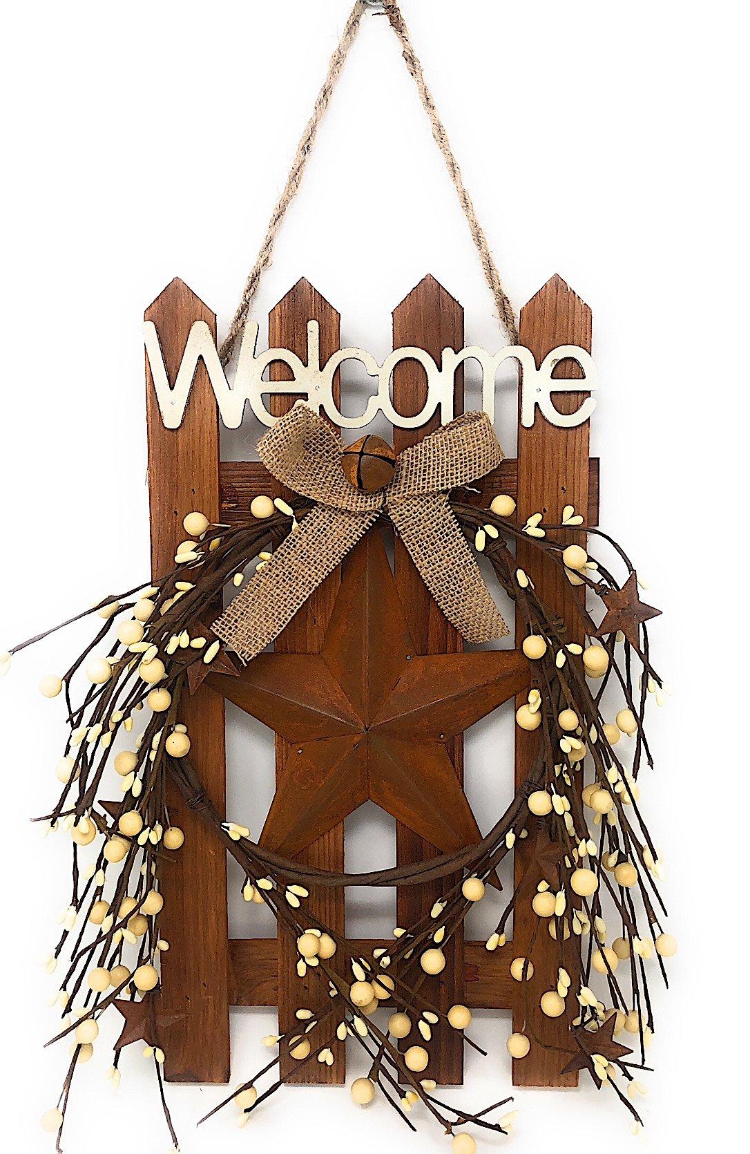 D.I. Inc Welcome Wood Metal Star 3D Rustic Sign Wreath Wall Barn Front Door Decor Indoor Outdoor 16'' x 12'' (White Burlap & Bell)