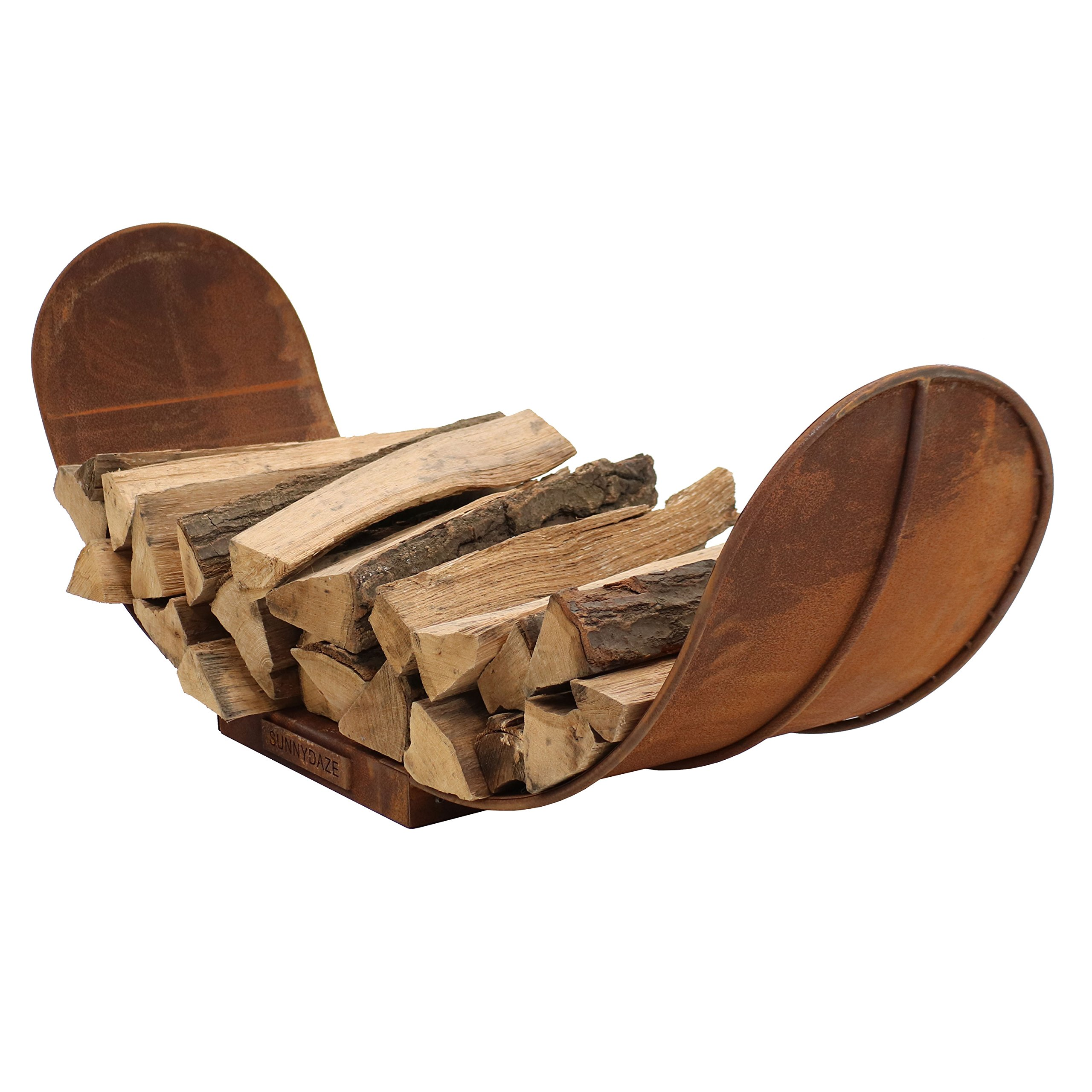 Sunnydaze 4-Foot Firewood Log Rack, Outdoor Fireplace Wood Storage Holder, Rustic Steel by Sunnydaze Decor