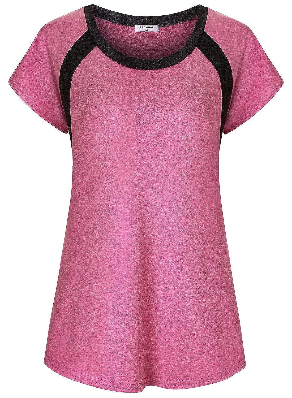 Bobolink Womens Short//Long Sleeve Yoga Tops Dri Fit Workout Running Shirts