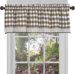 "Achim Home Furnishings Valance Buffalo Check Window Curtain, 58"" x 14"", Taupe & Ivory"