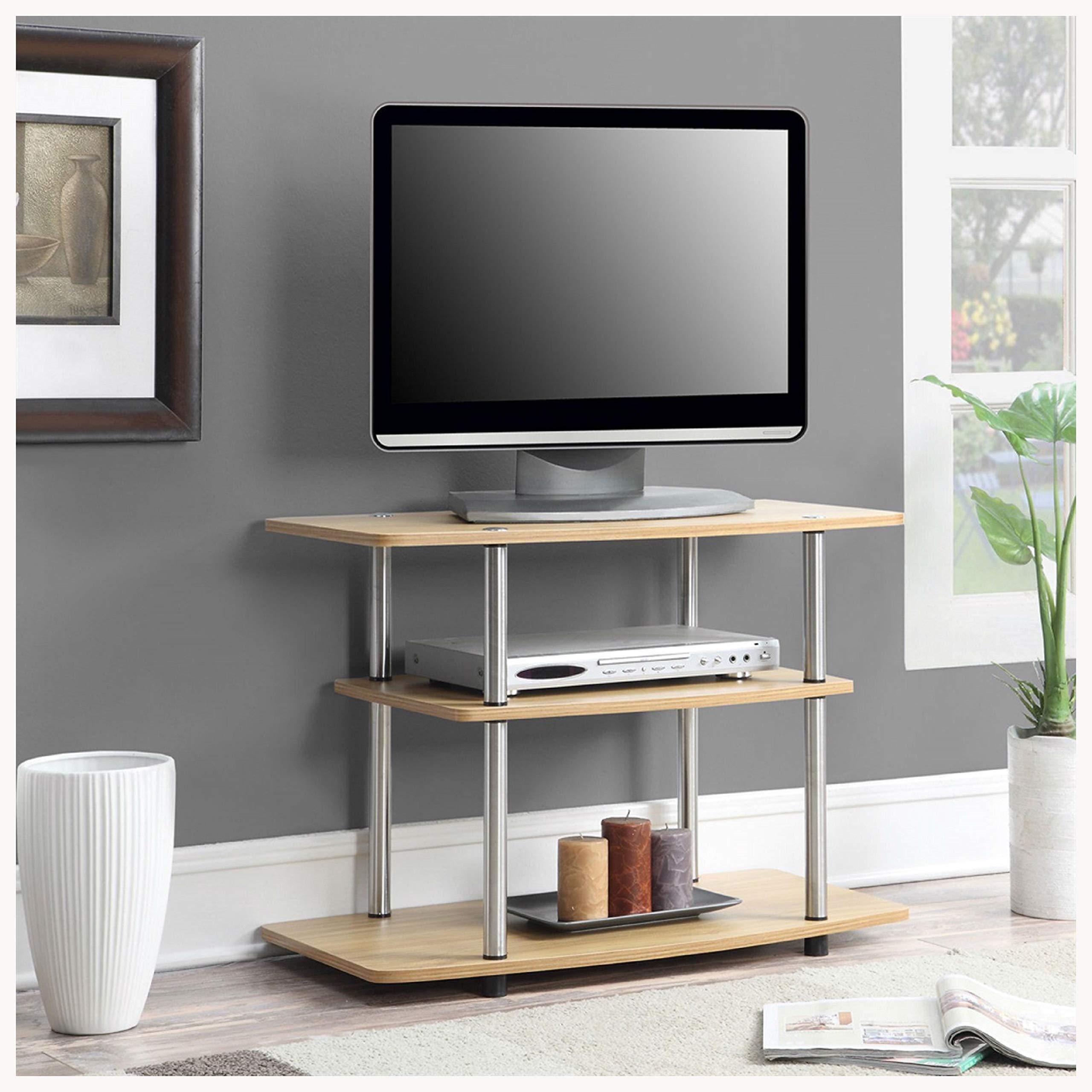 HEATAPPLY Modern TV Stand Light Oak Wood Finish with Sturdy Stainless Steel Poles by HEATAPPLY