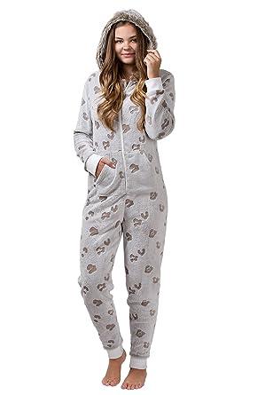günstigster Preis Fabrik innovatives Design maluuna - Damen Fleece-Onesie mit Bündchen an Arm- und Beinabschluss,  extrem kuscheliger Damen Jumpsuit, Overall mit Fell, Einteiler, Homewear