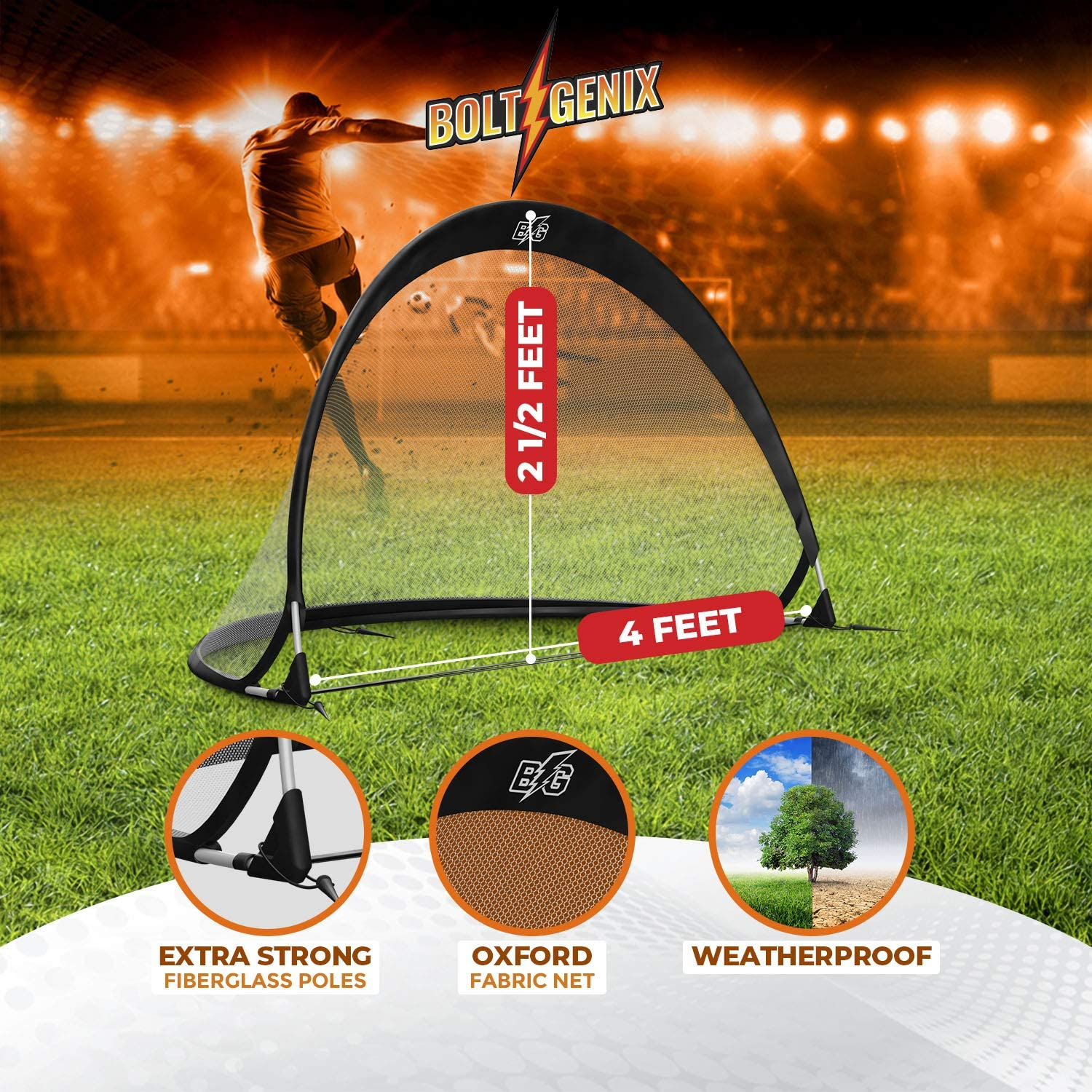 Bolt Genix Small Portable Soccer Goals - Pop Up Goals Set of 2 | Made for Toddlers, Teenagers and Pros | Works on Concrete, Carpet, Grass, Sand, and Turf | All Weather Durability - Easily Pack and Store : Sports & Outdoors