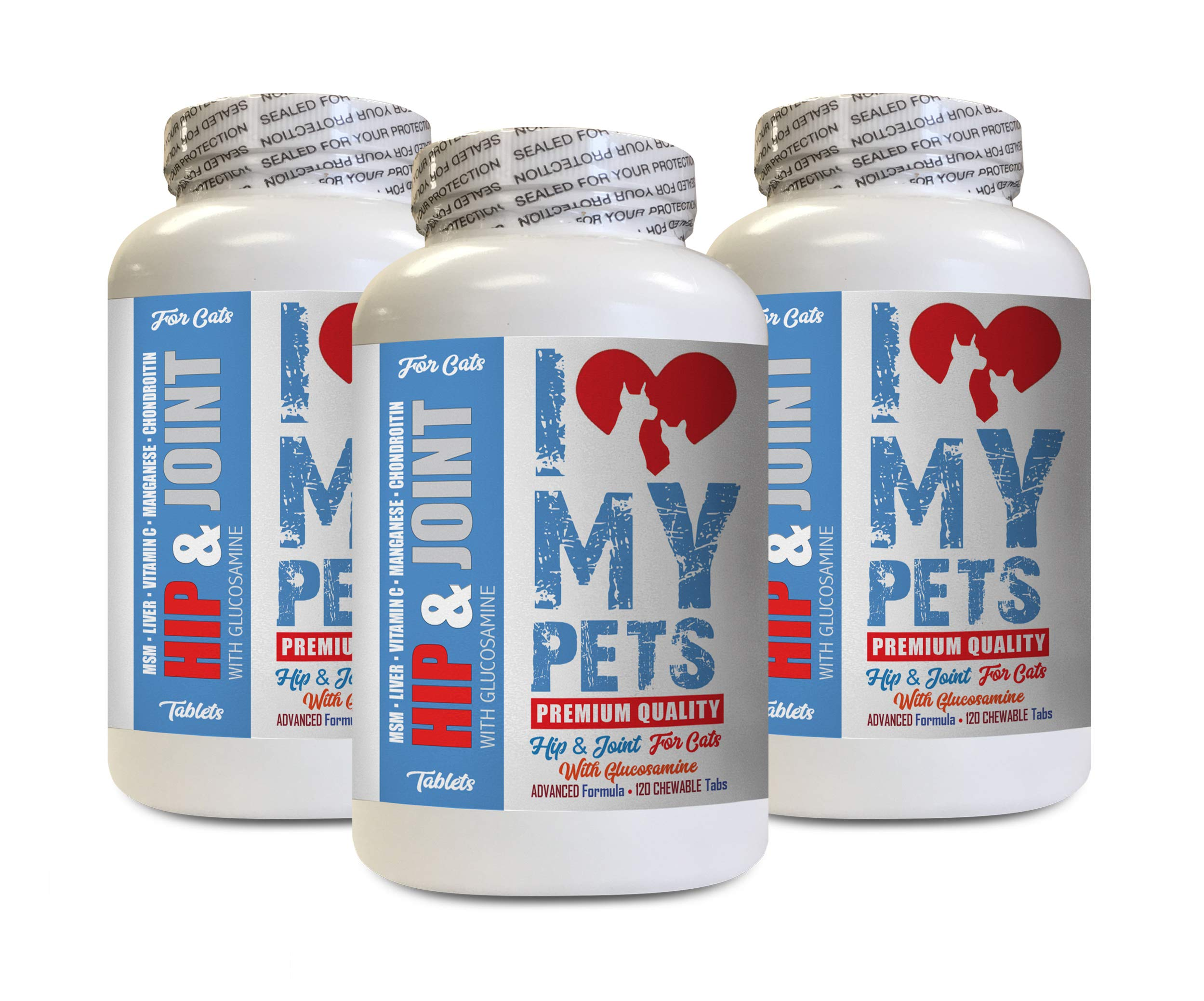 I LOVE MY PETS LLC Hip and Joint cat Treats - CAT Hip and Joint Support - Best Strong Formula - cat Liver Support Food - 360 Treats (3 Bottles) by I LOVE MY PETS LLC
