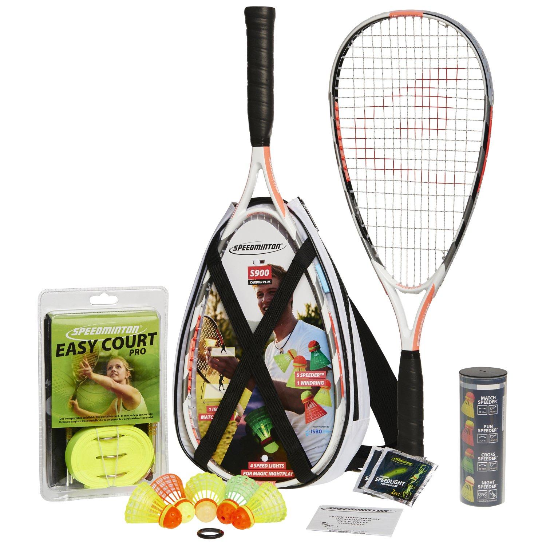 Speedminton® S900 Set – Original Speed Badminton/Crossminton Profi Set mit Carbon Schlägern inkl. 5 Speeder®, Spielfeld, Tasche 400093