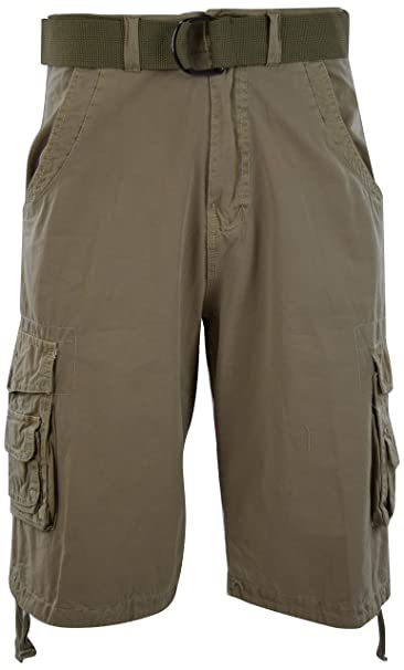 bfcee7a41f Mens Premium Cargo Shorts with Belt (8 Pockets 32-44 Size) | Amazon.com