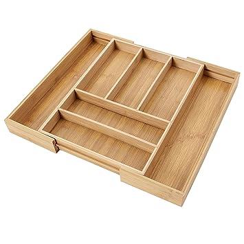 Songmics Bandeja extensible para cubiertos Cubertero de bambú (Ancho de 30 a 47cm) KAB801