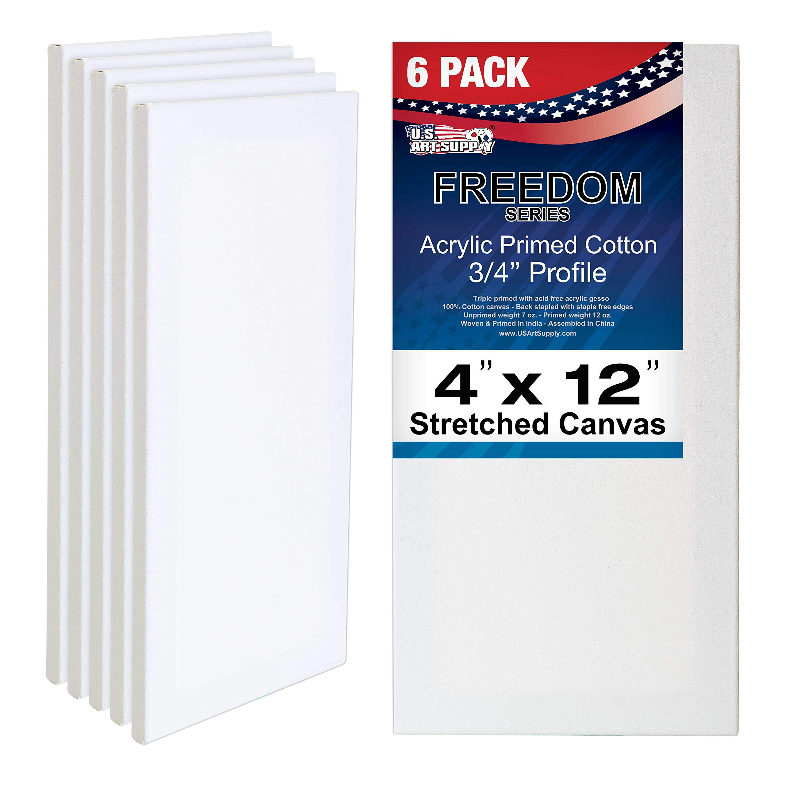 US Art Supply 4 x 12 inch Professional Quality Acid Free Stretched Canvas 6-Pack - 3/4 Profile 12 Ounce Primed Gesso - (1 Full Case of 6 Single Canvases) by US Art Supply