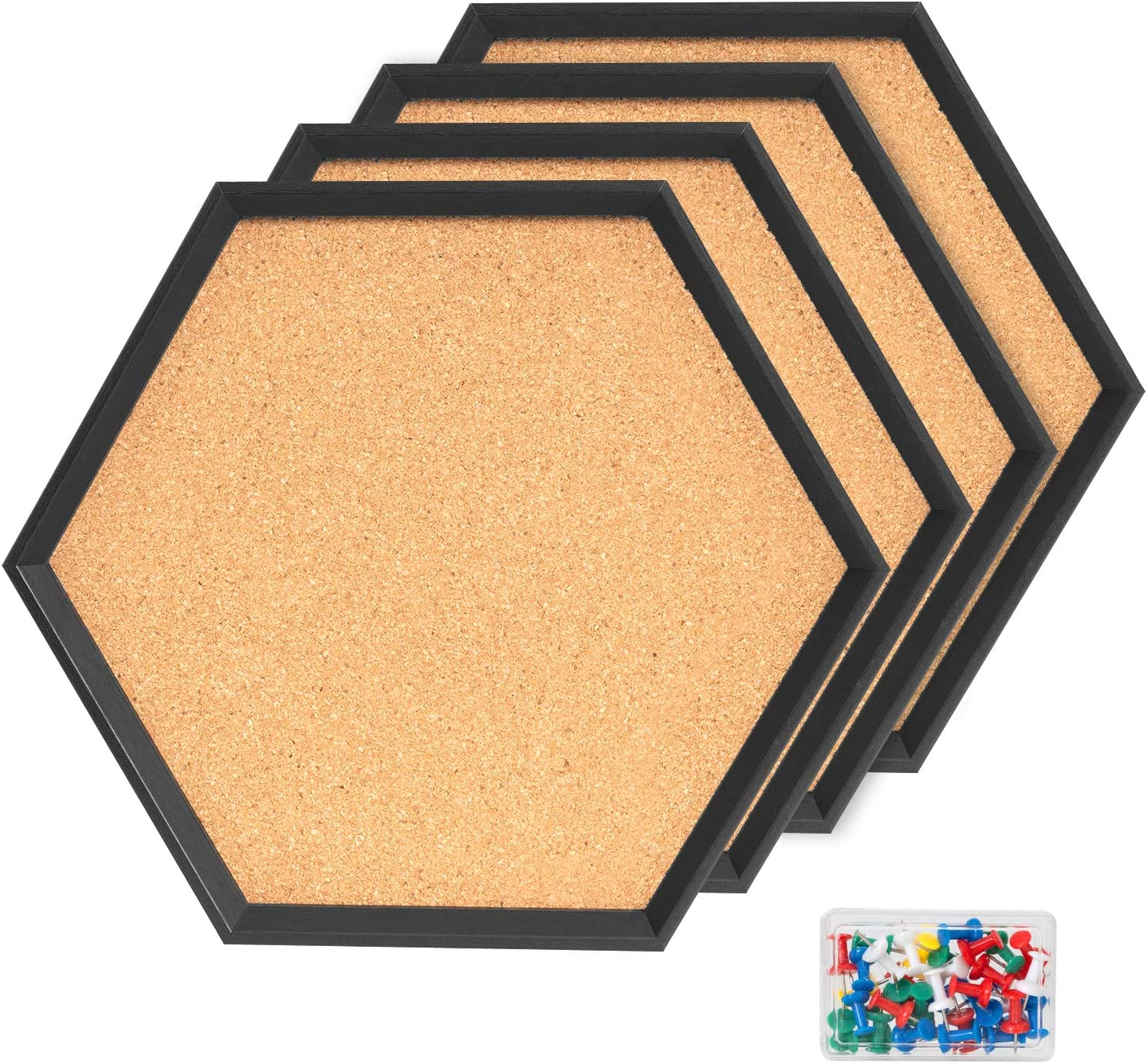 4 Packs Cork Boards Hexagon Shape with Black Framed Bulletin Board Modern Decorative Cork Boards for School, Home,Office(Set Including 40 Push Pins,Hardware and Template)