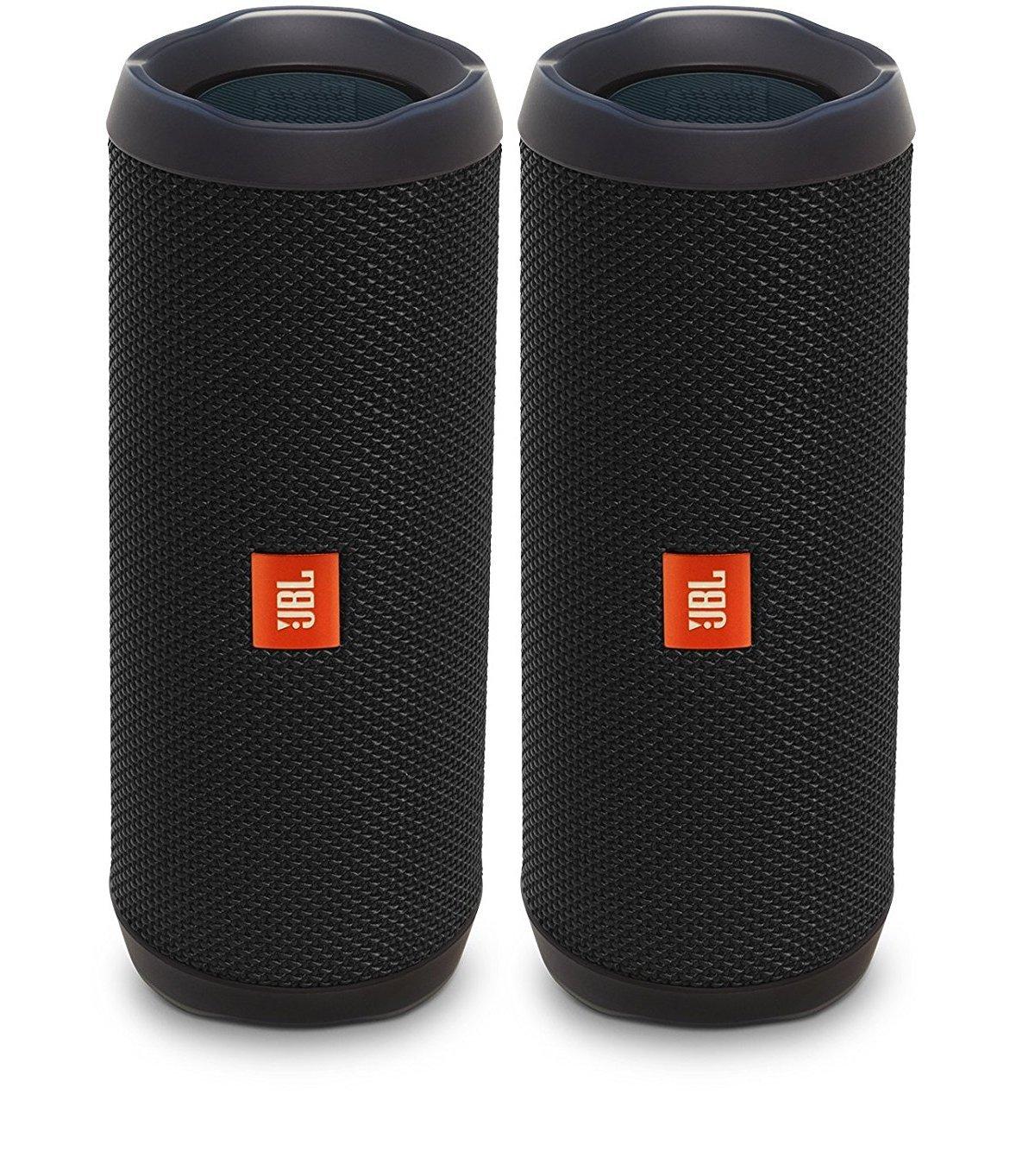 JBL Flip 4 Waterproof Portable Wireless Bluetooth Speaker Bundle - (Pair)  Black