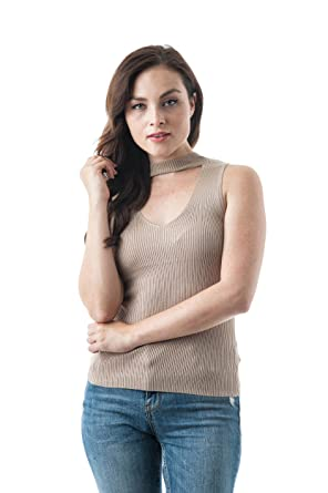 749dac5088e9c0 Women s Sleeveless Ribbed Stretch Mock Neck Choker Style Top at ...