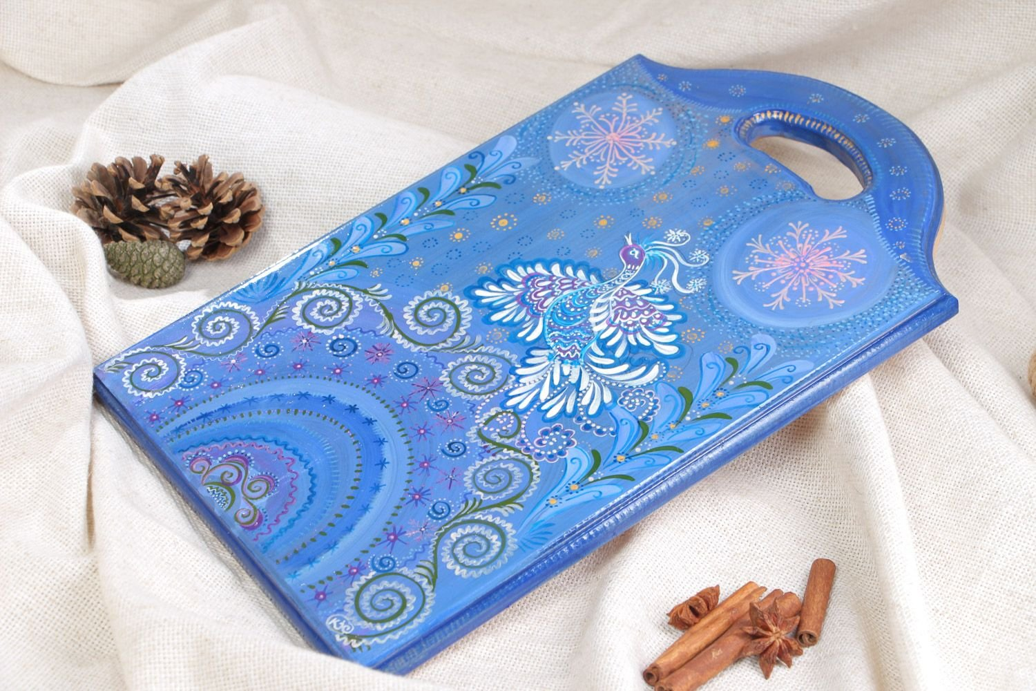Handmade Beautiful Painted Blue Wooden Chopping Board For Wall Decor