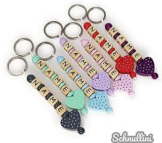 Schlüsselanhänger mit Namen Kinder Holz Gravur Herz mit Name   viele Farben Namenskette