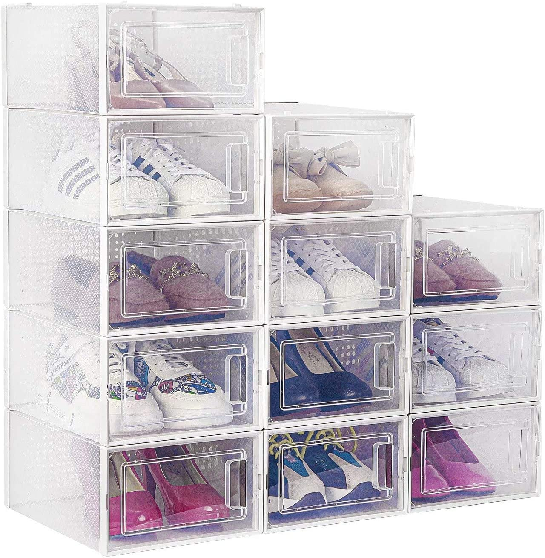 amzdeal - Juego de 12 cajas de zapatos de plástico transparentes y apilables y impermeables, para zapatos plegables, para hombres y mujeres, 33 × 23 × 14 cm