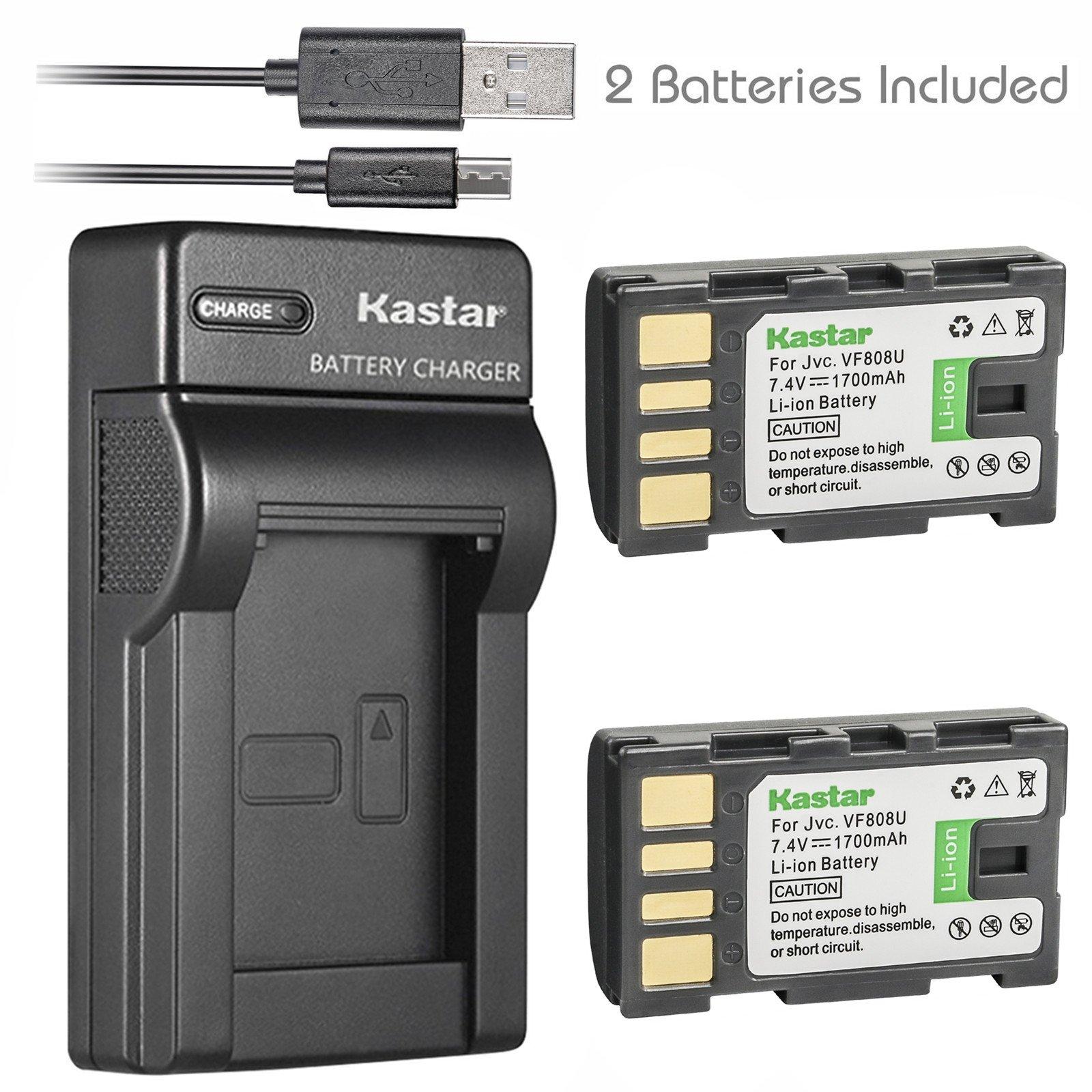 Kastar Battery (X2) & Slim USB Charger for JVC BN-VF808, BN-VF808U, BNVF808 and JVC Everio GZ-MG130 148 150 155 175 255 275 575 GZ-HD7 GR-D745 746 750 760 770 771 775 790 796 JVC MiniDV + More by Kastar