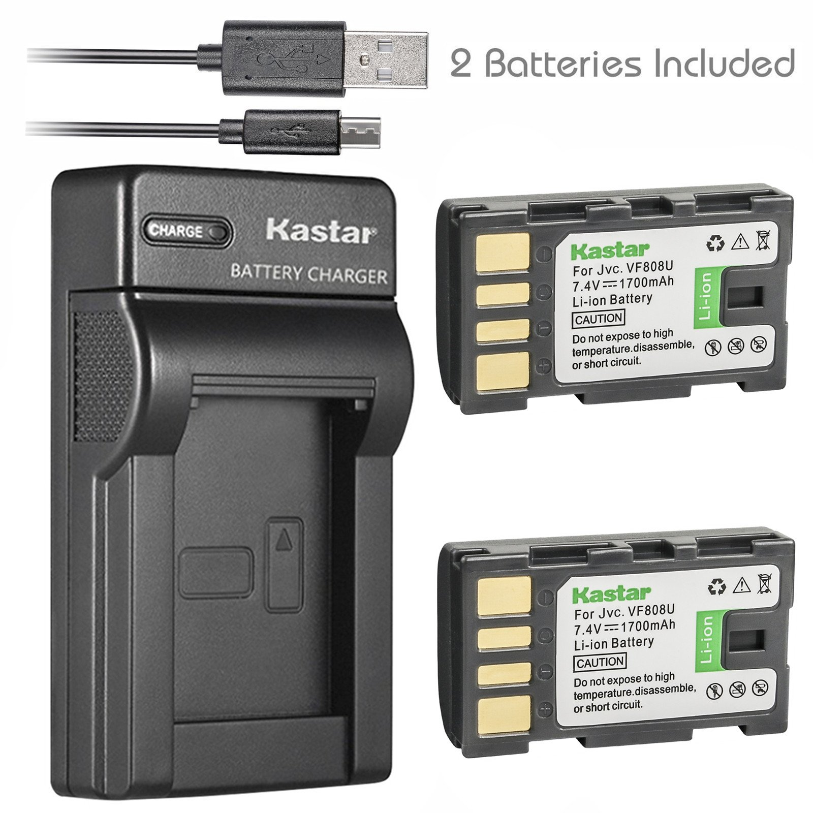 Kastar Battery (X2) & Slim USB Charger for JVC BN-VF808, BN-VF808U, BNVF808 and JVC Everio GZ-MG130 148 150 155 175 255 275 575 GZ-HD7 GR-D745 746 750 760 770 771 775 790 796 JVC MiniDV + More