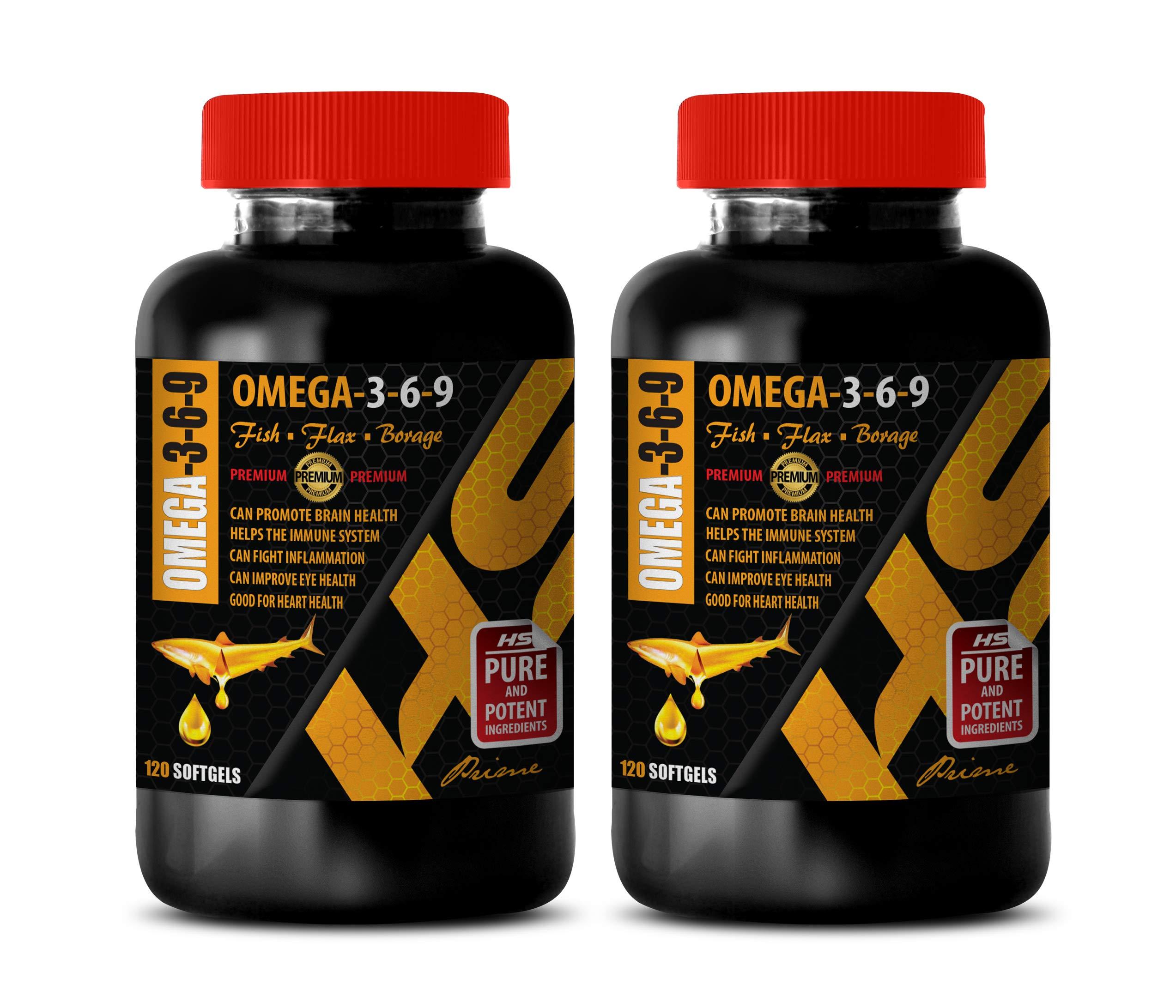 Brain Health Vitamins - Omega 3-6-9 Premium Complex with Fish, Flax & Borage - Omega 3 6 9 Bulk Supplements - 2 Bottles 240 Softgels