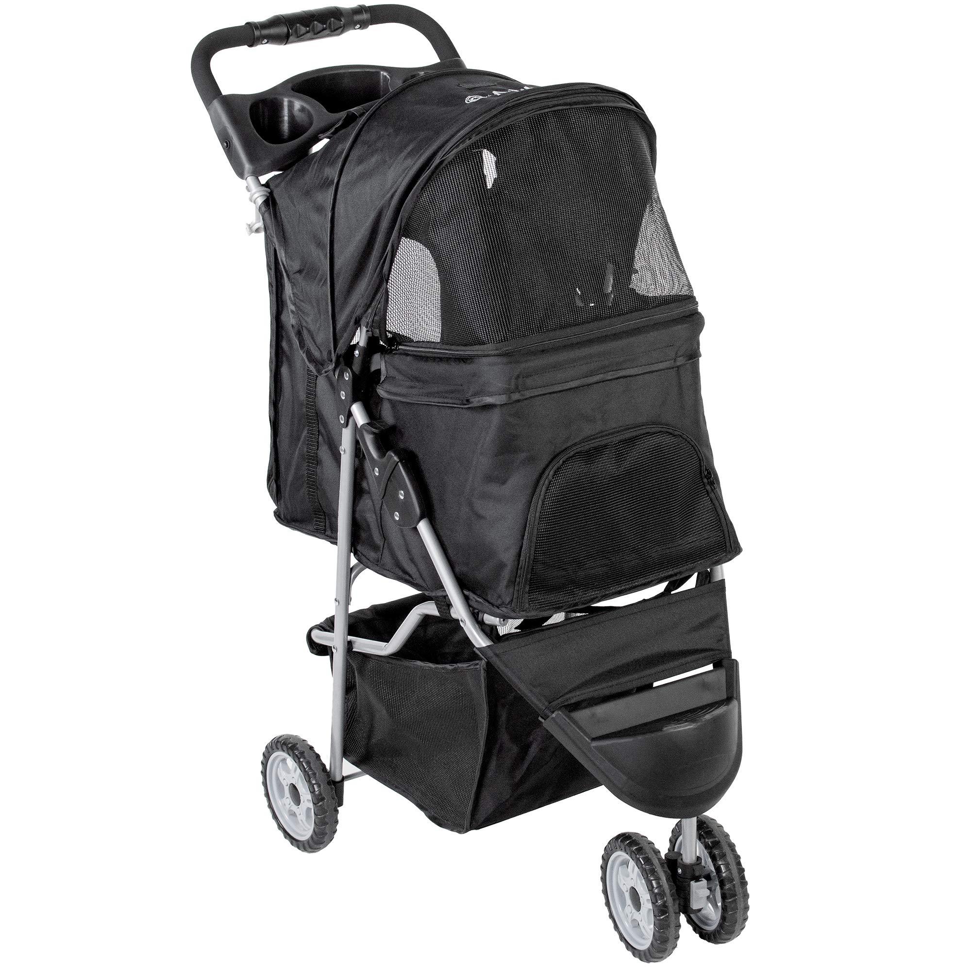 VIVO Black 3 Wheel Pet Stroller for Cat, Dog and More, Foldable Carrier Strolling Cart (STROLR-V003K) by VIVO