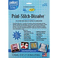 Pellon Print-Stitch-Dissolve Stabilizer for Embroidery, 8.5 by 11-Inch, White, 12-Pack