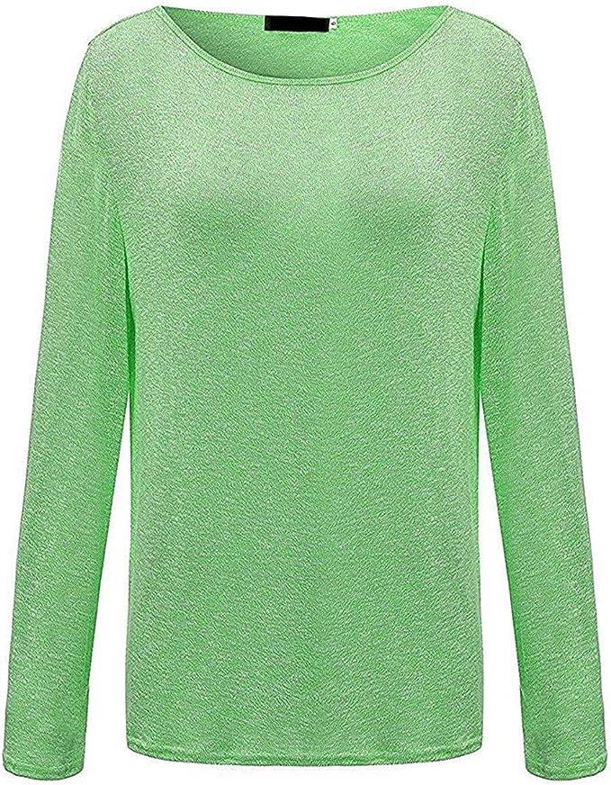 ZIOOER Femme Pulls Automne Casual Vrac L/âche Chemise Manches Longues Coton T-Shirt Top Blouse Pull Shirt Blanc XL