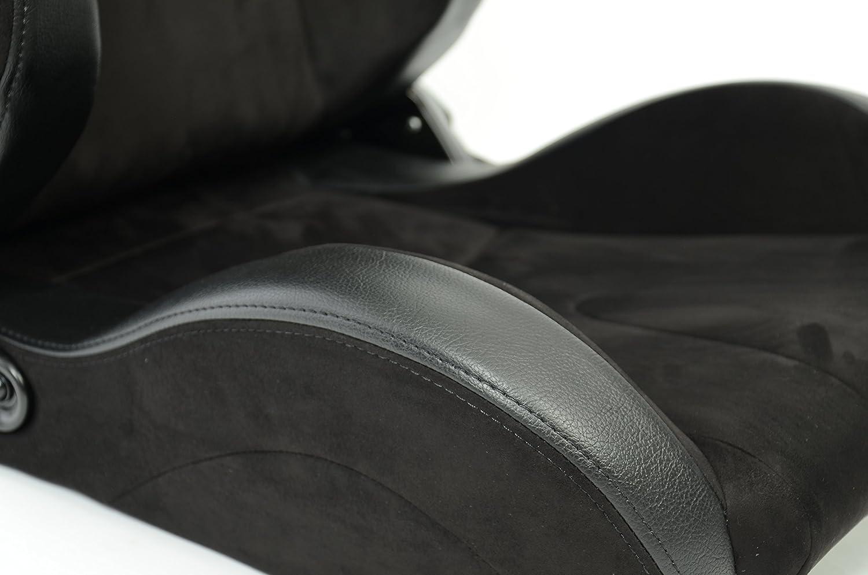 2/si/èges de voiture Racingseat sport noirs en faux cuir Alcantara