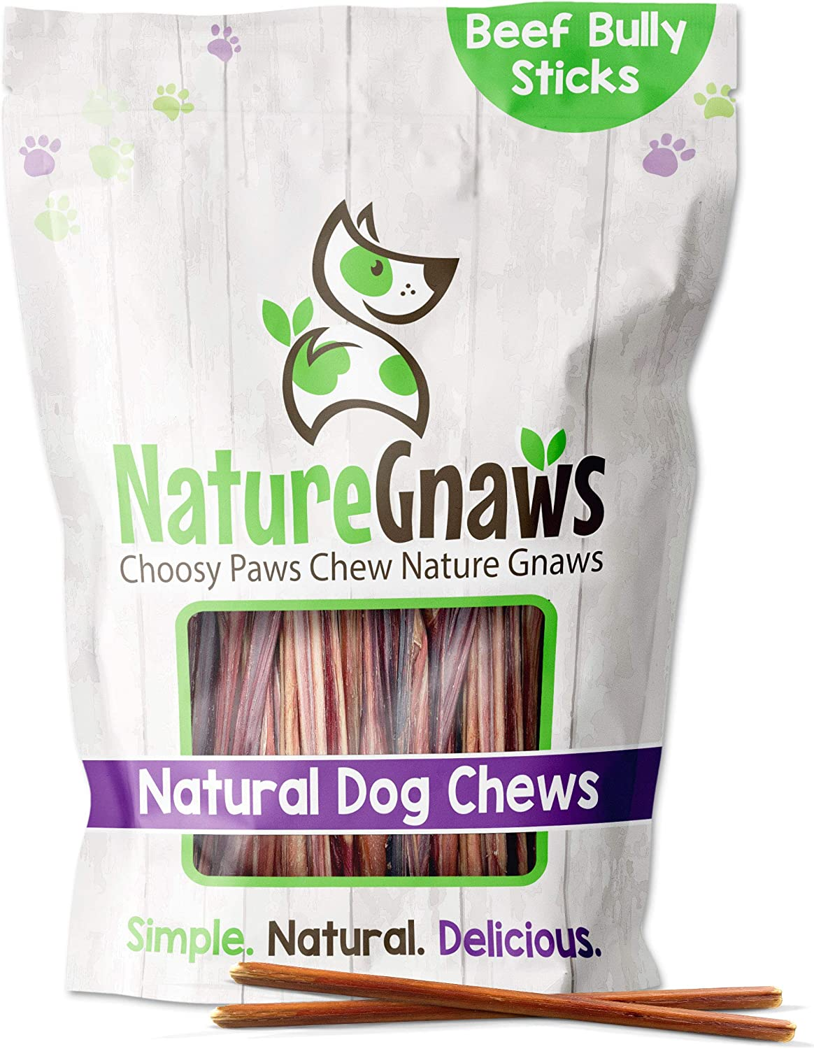 Nature Gnaws Extra Thin Bully Sticks for Small Dogs & Puppies - Premium Natural Beef Bones