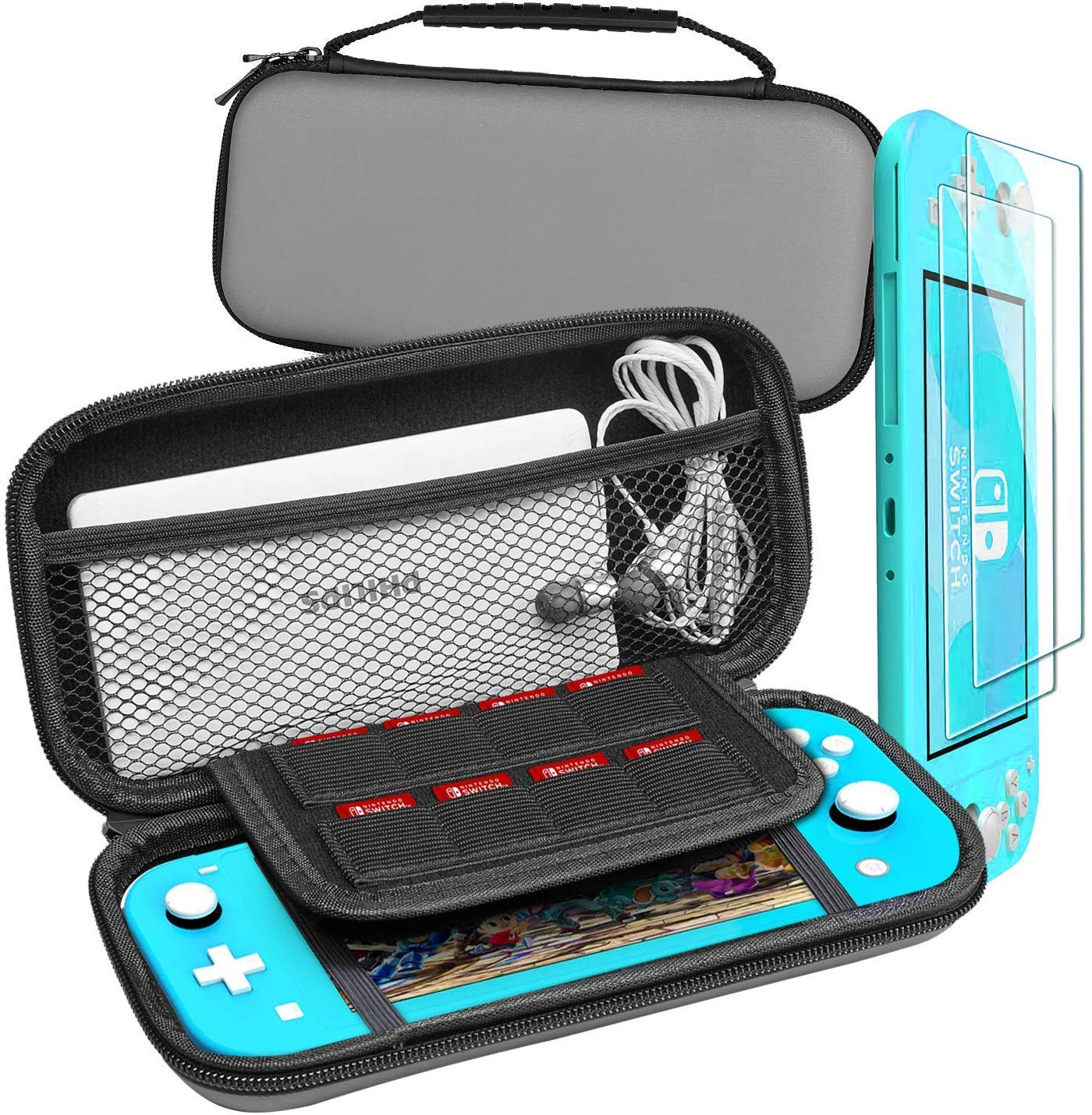 Halnziye Carrying Case for Nintendo Switch Lite - Portable Hard Shell Travel Case with 2-Pack Tempered Glass Screen Protector for Nintendo Switch Lite & Accessories (Gray)