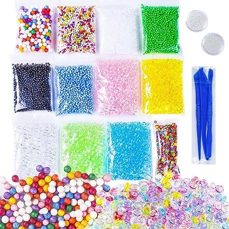 15 juegos de kit para hacer slime, bolas coloridas de poliestireno grandes y pequeñas,