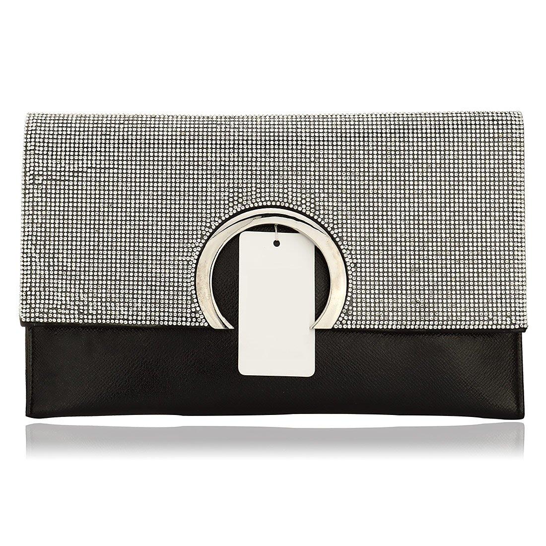 Evening Clutch Handbag, Cocktail Party Bridal Wedding Prom Clutch Purse Wallet Bag (Black)