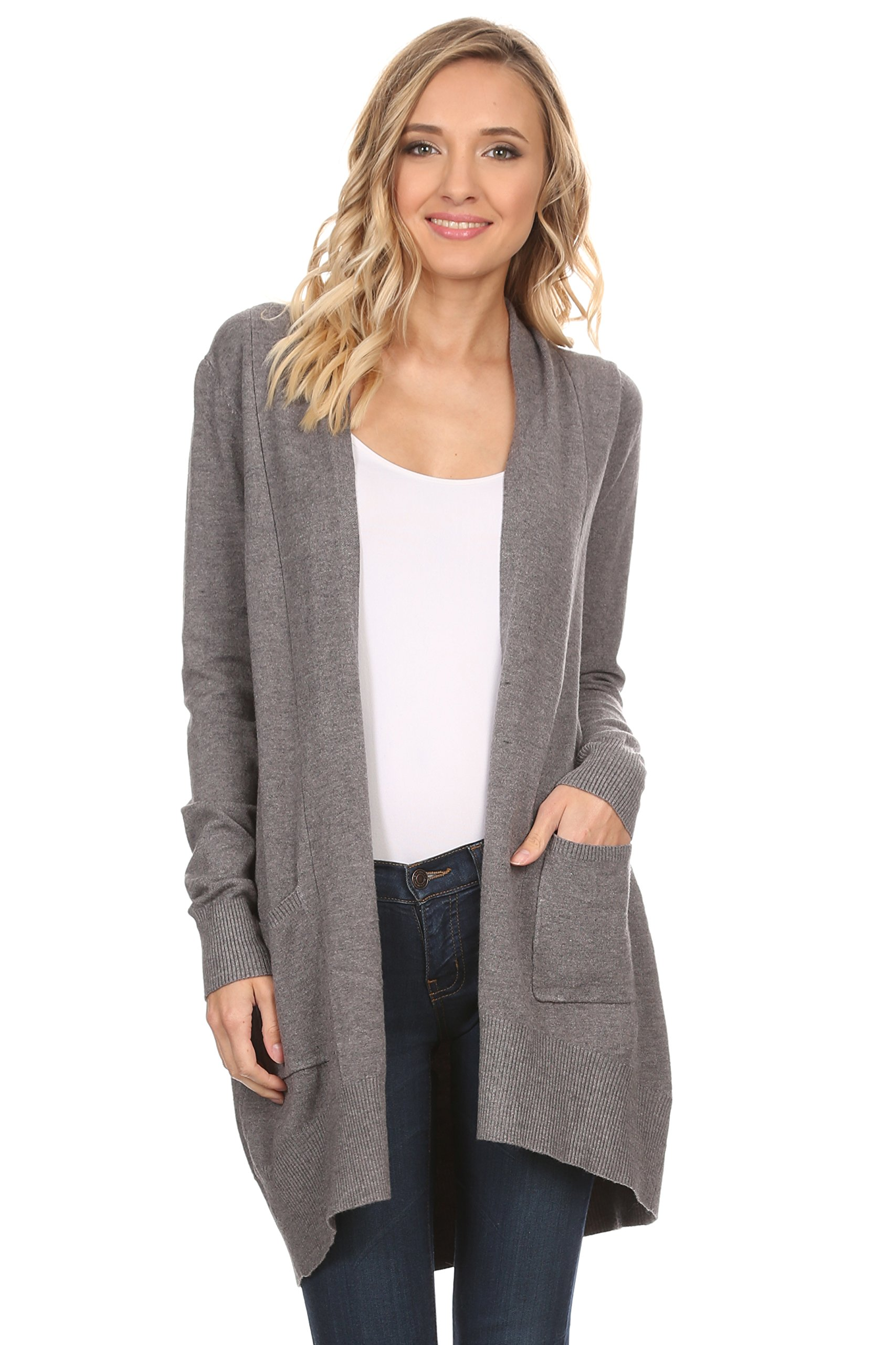 A+D Womens Basic Open Front Knit Cardigan Sweater Top w/Pockets (Charcoal, Small/Medium)