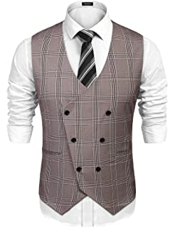 COOFANDY Mens Slim Fit Sleeveless Suit Vest Double Breasted Business Dress Waistcoat 190214