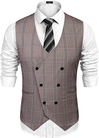 Mens Casual Slim Fit Waistcoat Sleeveless Solid Button Down Neck Tie Work Vest