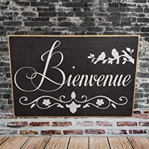 ArogGeld Bienvenue Wood Sign,Wooden Wall Hanging Art,Inspirational Farmhouse Wall Plaque,Rustic Home Decor for Living Room,Nursery,Bedroom,Porch,Gallery Wall