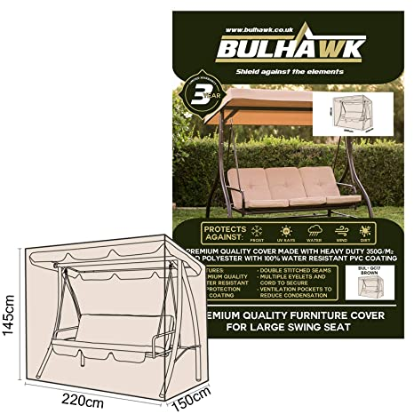 BULHAWK® 2 OR 3 SEATER BENCH COVER WATERPROOF SUPERIOR QUALITY GARDEN FURNITURE