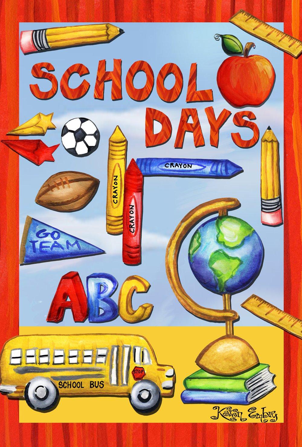 Toland Home Garden Classroom Collage 12.5 x 18 Inch Decorative Colorful School Days Bus Crayon Sports Garden Flag