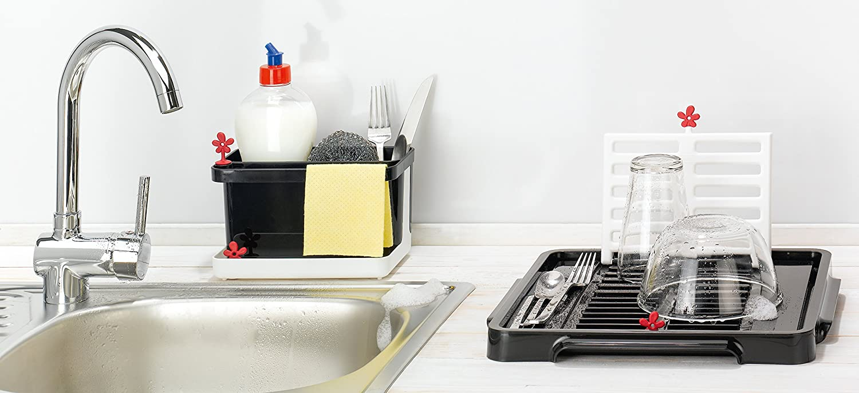Park-It 20,8 x 12,3 x 12,7 cm koziol Organizer da lavello Bianco//Nero per utensili
