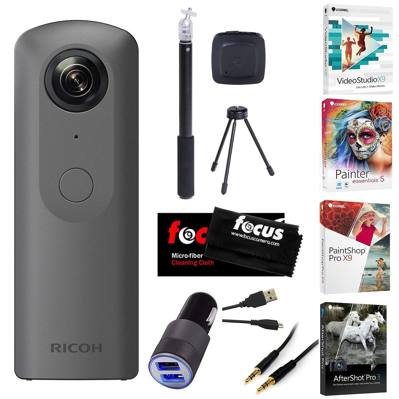 Ricoh Theta V 360 4 K球状VRカメラwith補助ケーブルととビデオ編集ソフトウェアバンドル   B077P637B3