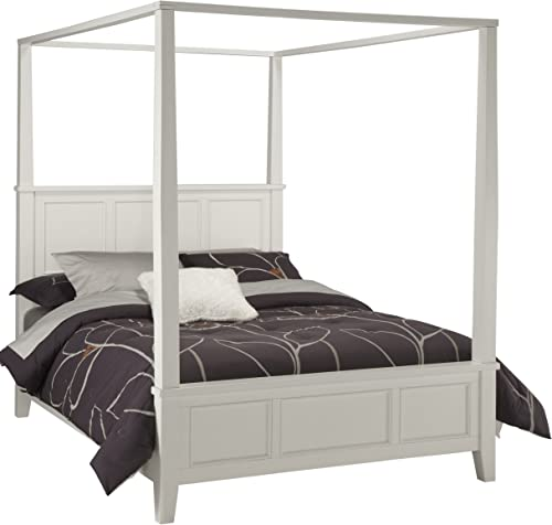 Home Styles Naples White Queen Canopy Bed
